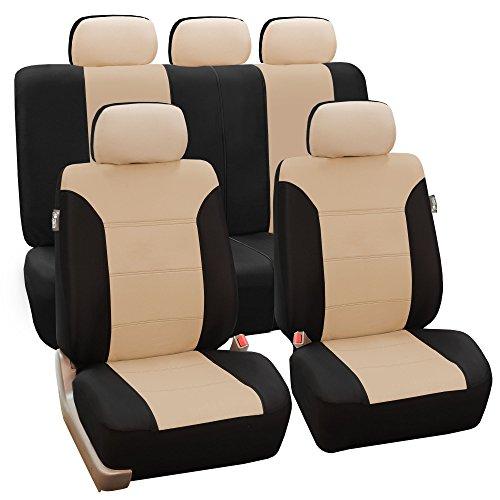 FH Group FB065115 Classic Khaki Seat Covers (Beige) Full Set – Universal Fit for Cars Trucks & SUVs