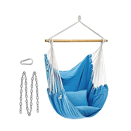 XiYou Hammock Chair Hanging Rope Swing, Max 330 Lbs, 2 Seat Cushions Included, Hanging Chair, Quality Cotton Weave, for Indoor and Outdoor