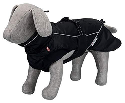Trixie Hundemantel für Haustiere, Jacke, Weste, Regenmantel, für Hunde, groß, klein, mittelgroß, wasserdicht, Zubehör Brizon, Größe S 40 cm, Schwarz