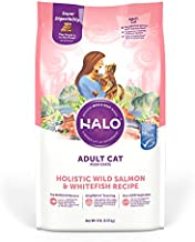 Halo Natural Dry Cat Food - Premium and Holistic Whole Meat Wild Salmon & Whitefish Recipe - 6 Pound Bag - Sustainably Sourced Adult Dry Cat Food - Non-GMO, Highly Digestible, and Made in the USA