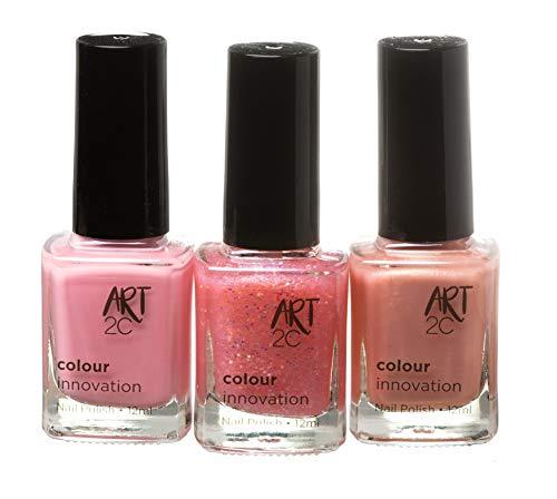 Art 2C Colour Innovation - klassischer Nagellack - 3er-Pack, 3 x 12ml - 3 pinke und mädchenhafte...