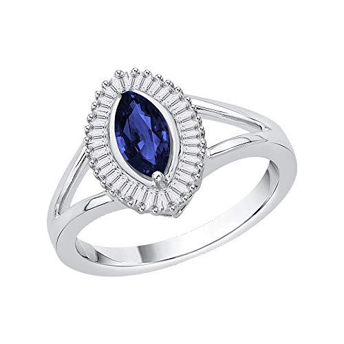 KATARINA Anillo de compromiso de diamantes y zafiros de talla baguette en oro de 14 k (1 1/10 cttw, G-H, I2-I3)