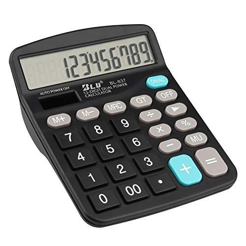 KINPLE Taschenrechner, 12-stellige Standard-Funktion, Desktop-Taschenrechner, Solar-Knopfbatterie und AA-Batterie betrieben (Taschenrechner schwarz)