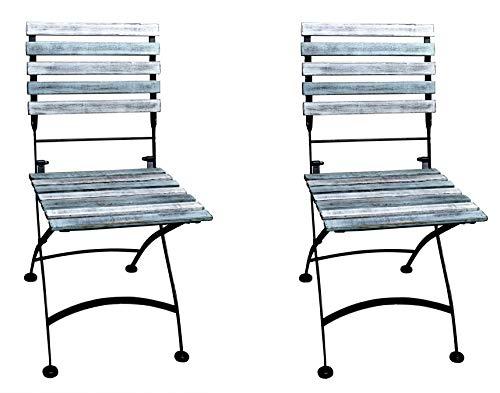 EuroLiving Vintage tuinstoel, terrasstoel, bistrostoel, stoel, klapstoel, set van 2 shabby, retro, blauw, marine, azuur