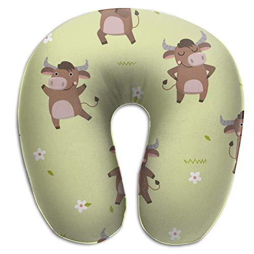 Almohada de viaje en forma de U Linda vaca toro marrón con flores Almohada en forma de U estándar Cómoda almohada de apoyo para la cabeza y el cuello con cojín de espuma viscoelástica Funda lavable d