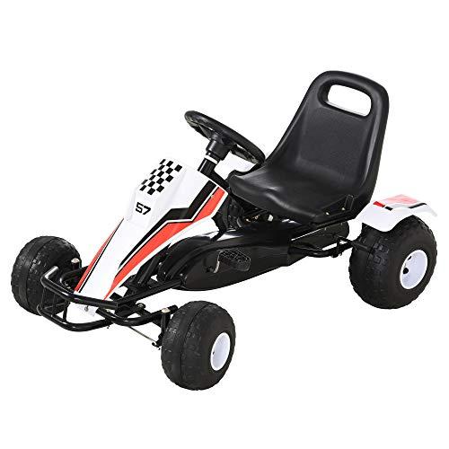 HOMCOM Go Kart Kinderfahrzeug Tretauto mit Pedal Bremsen Sitz Verstellbar Kinderspielzeug für 3-8 Jahre Stahl Weiß 104 x 66 x 57 cm