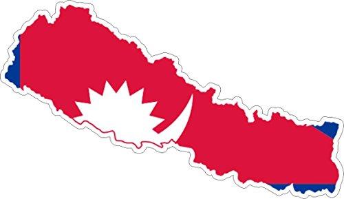 Akachafactory Sticker, zelfklevend, voor auto, vinyl, vlag kaart Nepal