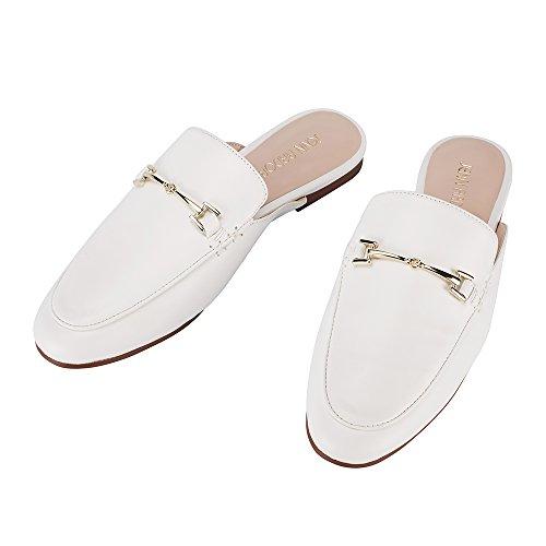 JENN ARDOR Women's Mule Flats Shoes Pointed Toe Backless Slipper Slip On Loafer Shoes White
