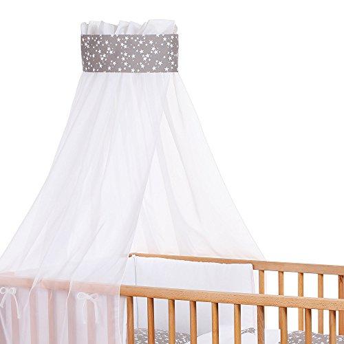 Babybay 410327 Ciel de lit d'enfants en piqué avec Ruban pour Application Taupe et d'étoiles Blanches, Multi Color, Taille Unique