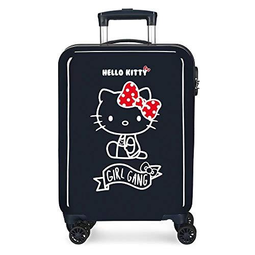 Hello Kitty Girl Gang Maleta de Cabina Azul 38x55x20 cms Rígida ABS Cierre combinación 35L 2,3Kgs 4 Ruedas Equipaje de Mano