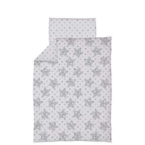 Parure de lit 4 pièces avec housse de couette et taie d'oreiller pour lit junior 150 x 120 cm