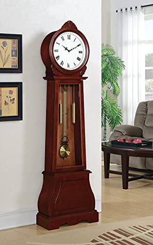 Coaster Home Furnishings Grandfather Clock with Chime Brown Red