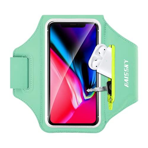 HAISSKY Brazalete para Correr con Airpods con Bolsillo con Cremallera para teléfono Celular Funda para Gimnasio Compatible con iPhone 12 Pro Max/11 Pro Max/11 Pro/XR/XS MAX para Galaxy S30/S20