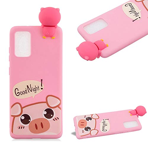 Cestor 3D Cartoon Animal Case for Samsung Galaxy A51 5G,Ultra Thin Colorful Painted Soft Silicone One Piece Shockproof TPU Rubber Protective Phone Cover for Women Kids Girls,Pink Piggy