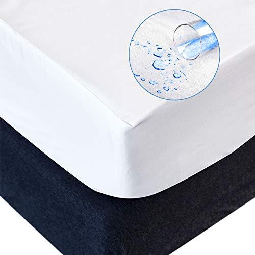 RongXi Coprimaterasso Impermeabile Matrimoniale Tranquillo Proteggi Traspirante Sottile Tessuto Pongee Anallergico Antiacaro Fodera per Letto Materassi 160 x 200/190 cm