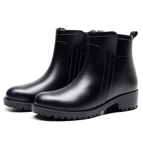 ZODOF Botas de Agua Mujer Estilo Punk Tubo Corto Botas de Nieve Antideslizante Botas de Lluvia Al Aire Libre Caucho Zapatos de Agua Bota Seguridad Mujer(Negro,38 EU)