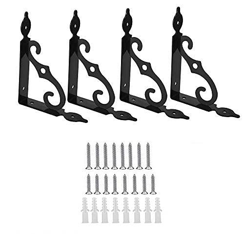 TANCUDER 4 Pcs Staffe per Mensole in Ferro Resistenti Supporti per Mensole Pesanti 14*10cm Staffe Triangolaricon 16 Vite Lunga/ Corta per Scaffale per Libri Scaffale da Cucina Espositore (Nero)