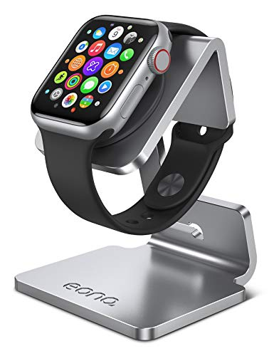 Eono by Amazon Supporto per Apple Watch, Stazioni di Ricarica : Notturno Stand Dock Gestione Cavi per Apple Watch Series SE, 6, 5, 4, 3, 2, 1, iWatch 44mm / 42mm / 40mm / 38mm - Argento