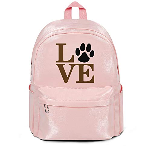 Animal Lover Dog Paw Print Love Dogs My Best Friend Bag Classic Nylon Lightweight 13 Inch Laptop Compartment Backpack College Bookbag