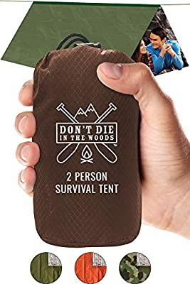 DON'T DIE IN THE WOODS Ultralight Mylar Emergency Shelter For Outdoor Survival Kits • 2 Person 8x5 Tube Tent + 20ft Rope • Heat Reflecting + Waterproof = Best Survival Gear Versatility Year Round