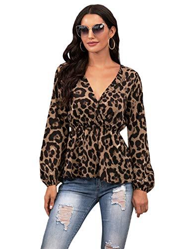 SheIn Women's Leopard Print Deep V Neck Long Sleeve Tops Wrap Peplum Blouse Leopard Print Medium