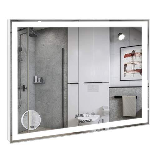 Homfa LED Badezimmerspiegel 80x60cm Badspiegel Wandspiegel Lichtspiegel Spiegel mit Beleuchtung 3 Farbtemperatur dimmbare LED Berührung Sensorschalter mit beschlagfrei und Uhr und eine Lupe
