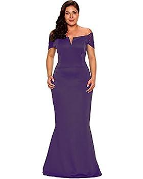 LALAGEN Women s Plus Size Off Shoulder Long Formal Party Dress Evening Gown Purple XL