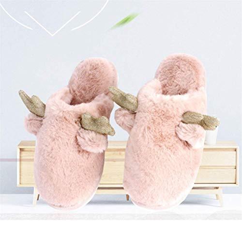 QLIGHA Zapatillas de Invierno Zapatillas de Navidad, Zapatillas de algodón de Invierno, Zapatillas peludas para Mujer Zapatillas de Animales Antideslizantes con Espuma viscoelástica para Mujer, Ros