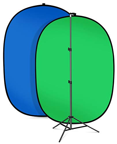AFHT 5'X7'Portable Green Screen Backdrop with Stand Blue and Green 2-in-1 Collapsible Green Screen Kit , Chromakey Blue and Green Screen Chair
