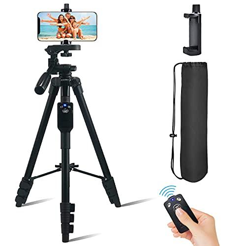 Fugetek Trípode de vídeo para fotos de 54 pulgadas, mando a distancia Bluetooth, funciona con teléfono y cámara, aluminio ligero,...