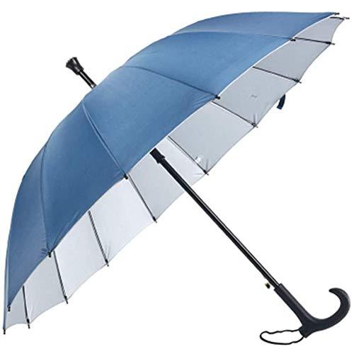 Yxp 2 in 1 Regenschirm Mit Gehstock - Doppelnutzung Regenschirm Für Sonne/Regen, Windschutz Rib Gehen Stock-Krücke Regenschirm, Stabilen Rahmen, Old Man Best Cane,Blau