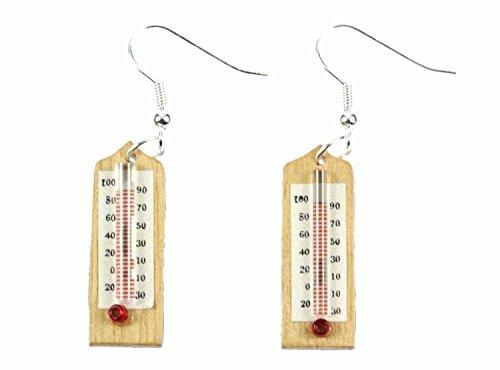 Termómetro pendientes percha Miniblings médico clima de verano de 30 mm de madera medicina
