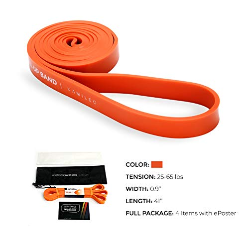 Kamileo Pull Up Assist Bands, Stretch Resistance Band - Workout/Exercise Bands for Body Stretching, Powerlifting, Cross Mobility Training - Single Band (Orange)