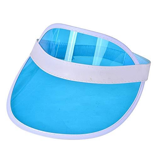 Mdsfede Sol de Verano para Hombres, Color Caramelo, Sombreros de plástico Transparentes y vacíos, Sombreros de Sol, Gorra de béisbol para Bicicleta, Azul