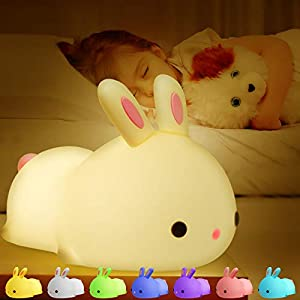 crib bedding and baby bedding kids night light,cute bunny night lights,food grade silicone,7 color change,kids toys lamp nightlight for girl boy,gifts for 3-10year children nursery toddler