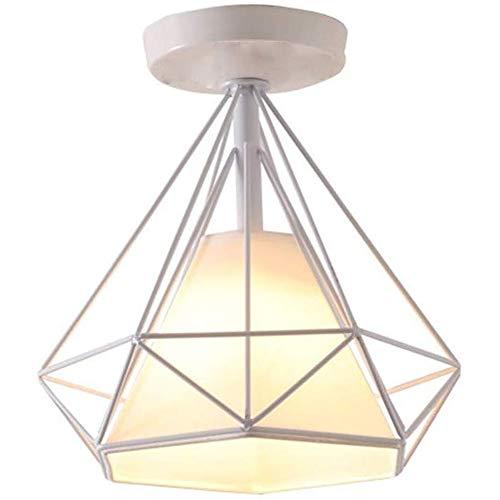 Lámpara de Techo Industrial Vintage Φ250mm Diamante Plafón 40W E27 Iluminación Colgante Retro para Cocina Sala de estar Pasillo Entrada Corredor Baño Loft, Blanco
