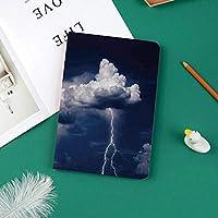 おしゃれな新しい ipad pro 11 2018 ケース スリムフィット シンプル 高級品質 手帳型 スエード柔らかな内側 スタンド機能 保護ケース オートスリープ 暴風と落雷を伴う大きく鮮やかな雨雲