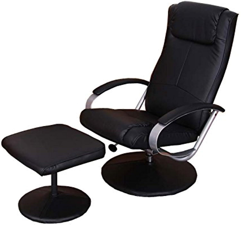 Mendler Relaxliege Relaxsessel Fernsehsessel N44 mit Hocker  schwarz