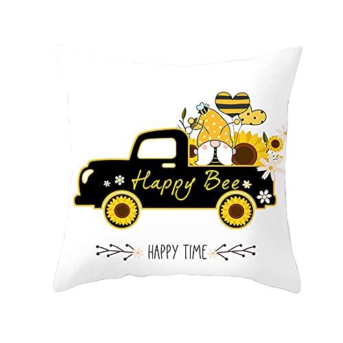 MissW Cartoon Bee Yellow Series Funda De Almohada Decorativa con Cremallera, Lavable, Suave Y Cómoda Funda De Almohada Sin Núcleo, Adecuada para La Habitación De Los Niños, El Sofá, El Coche