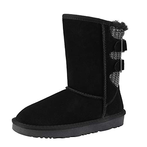 DREAM PAIRS Boys Girls Warm Faux Fur Lined Mid Calf Shearling Winter Snow Boots Sweaty-Buckle-K Black Size 4 M US Big Kid