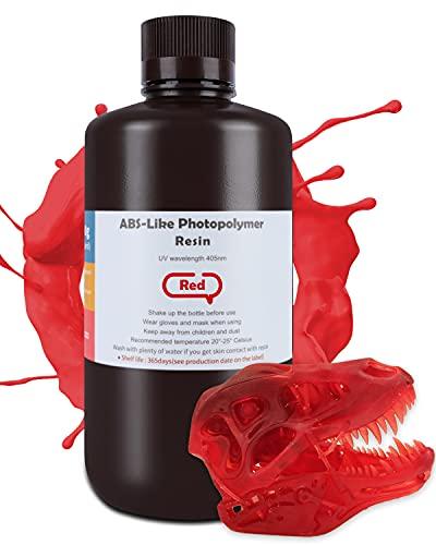 ELEGOO ABS-Like Resina para Impresora 3D Resina Rápida para Impresora LCD Resina Líquida 3D Curado UV Resina de 405 nm para Impresión LCD Fotopolímero Resina Rojo 1kg