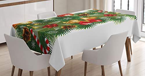 ABAKUHAUS Noël Nappe, Noel Décorations d'arbre, Linge de Table Rectangulaire pour Salle à Manger Décor de Cuisine, 140 cm x 200 cm, Multicolore