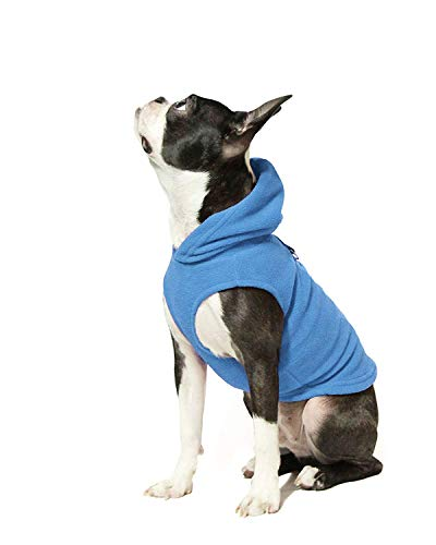 Gooby - Fleece Vest Hoodie, Small Dog Pull Over Hooded Fleece Jacket with Leash Ring, Blue, Medium