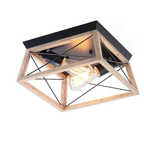 Puhui Lámpara de techo retro de madera y metal, 2 focos, con casquillo E27, lámpara de diseño rústico y vintage, lámpara de techo para dormitorio, salón, cocina o pasillo