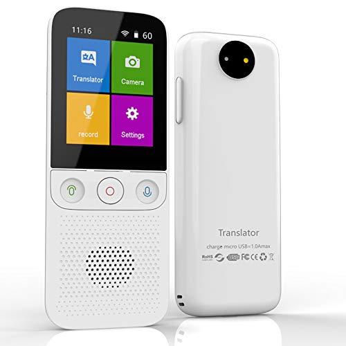 Instant Language Translator Device, Voice Smart Pocket Translator Device 138 Languages Two Way Translator Travel WiFi/Offline 2.4 Inch Touch Screen Camera Translation-T10Pwhite