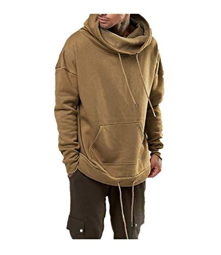 Sudadera con Capucha de Cuello Alto Casual de Color Puro para Hombres Hoodie de Manga Larga Loose Pullover Deportivo Suéter Cordón Sweatershirt liquidación! Yvelands