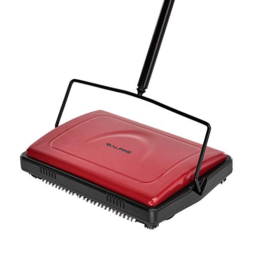 Alpine Industries Triple Brush Floor & Carpet Sweeper – Heavy Duty &...