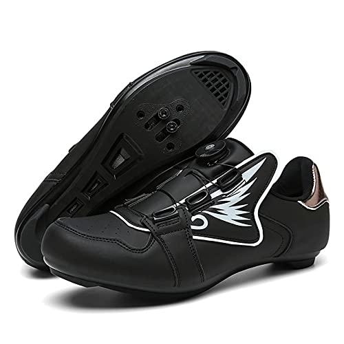 DSMGLSBB Zapatos De Ciclismo para Hombres, Zapatillas De Bicicleta De Carretera SPD Cleats, Zapatos De Bicicleta De Deporte Al Aire Libre Zapatillas De Bicicleta De Flat Cleat,Black and White,40