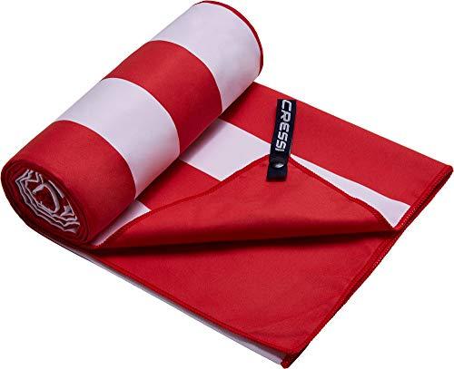 Cressi Microfibre Fast Drying Toalla Sport, Unisex Adulto, Blanco/Rojo, 90x180 cm ⭐