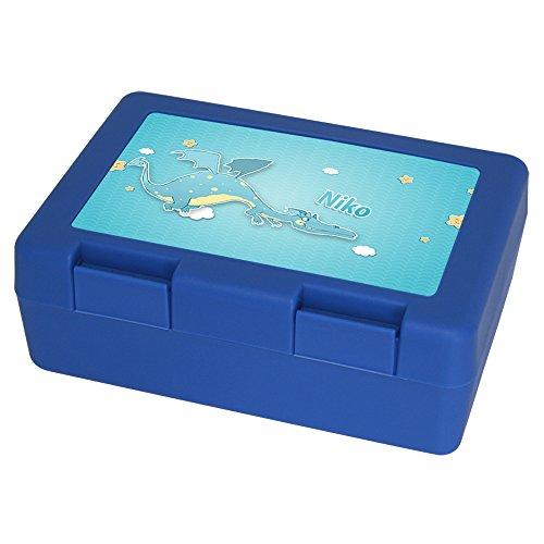 Brotdose mit Namen Niko und schönem Drachen-Motiv für Jungen | Brotbox blau - Vesperdose - Vesperbox - Brotzeitdose mit Vornamen